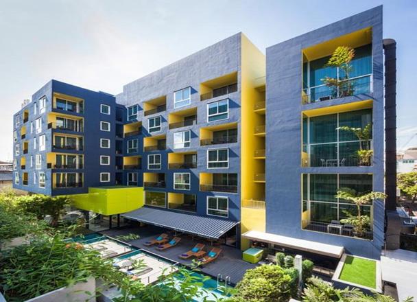 เรสซิเดนซ์ ฤทธิ์ กรุงเทพ ฯ (Lit Bangkok Residence) อาคารโรงแรมสุดอาร์ทตั้งอยู่ที่เขตราชเทวี