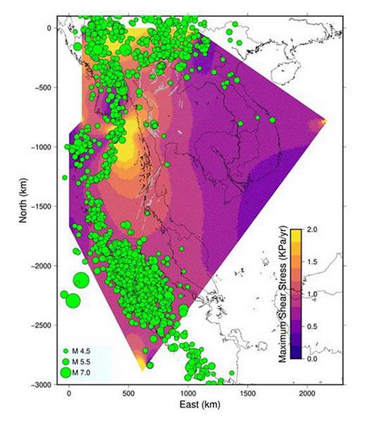 แผนที่แสดงความเค้นสะสมของแผ่นเปลือกโลกในบริเวณประเทศไทยและบริเวณใกล้เคียง