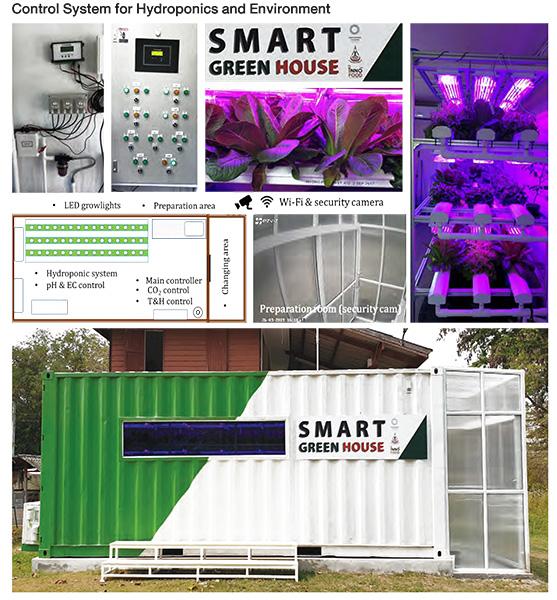 ภาพที่ 1 ตู้โรงเรือนที่ติดตั้งระบบควบคุมอัตโนมัติและระบบแสง LED โดยมีระบบ Wi-Fi สำหรับเชื่อมต่อกับระบบ Cloud เพื่อการเข้าถึงข้อมูลผ่านโทรศัพท์มือถือ และมีกล้องวงจรปิดเพื่อความปลอดภัย