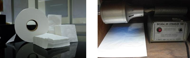 กระดาษทิชชู่ที่ไม่มีการเติมสารฟอกนวลเมื่อทดสอบเมื่อทดสอบจะไม่พบสารเรืองแสง
